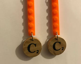 Personalized Handmade Orange LEGO & SCRABBLE Dangly Earrings