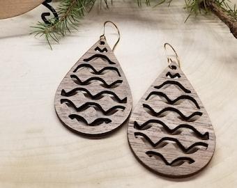 Morrocan Screen Wooden Earrings - Geometric - Teardrop Earrings - Laser-Engraved - Bohemian - Wooden Dangle - Hoop Earrings