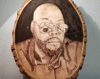 Custom Wood Burned Pyrography Portrait