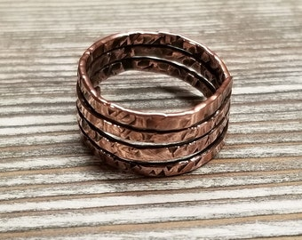 Hammered Antiqued Copper Wrap Band Ring
