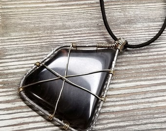 Mahogany Obsidian Pendant Necklace Wrapped with Brass Wire Framed in a Hand Forged Annealed Steel Frame