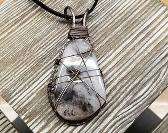 White, Black, and Gray Agate Pendant Necklace Wrapped with Antiqued Copper Wire in a Hand Forged Annealed Steel Frame