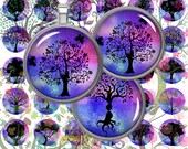 Tree Silhouettes,Tree of Life Printable Circles,Tree Round Images,Digital Collage Sheets,2 quot ,1.5 quot ,1.25 quot ,1 quot ,35,30,25,20,18,16,14,12mm,Download