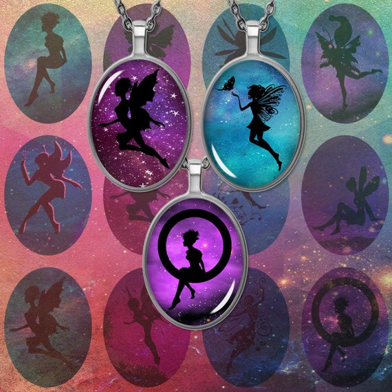 10 Fairy Silhouette glass cabochons ovale 25 mm x 18 mm Crafts Jewellery Making