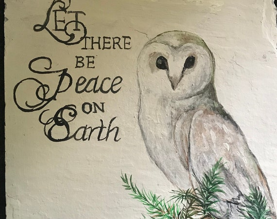 Hand Painted Slate, Holiday Decor, Owl Collectors, Christmas Decor, White Peace Owl