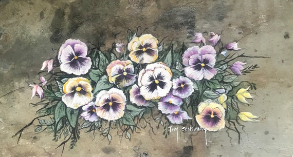 Pansies, Slate Painting for Home Decor