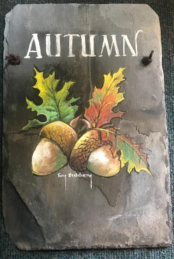 Hand Painted Slate Autumn Welcome, Fall Decor, Autumn Door Hanger