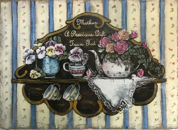 Tea Pot Hand Painted Slate Painting Mothers are A Precious Gift