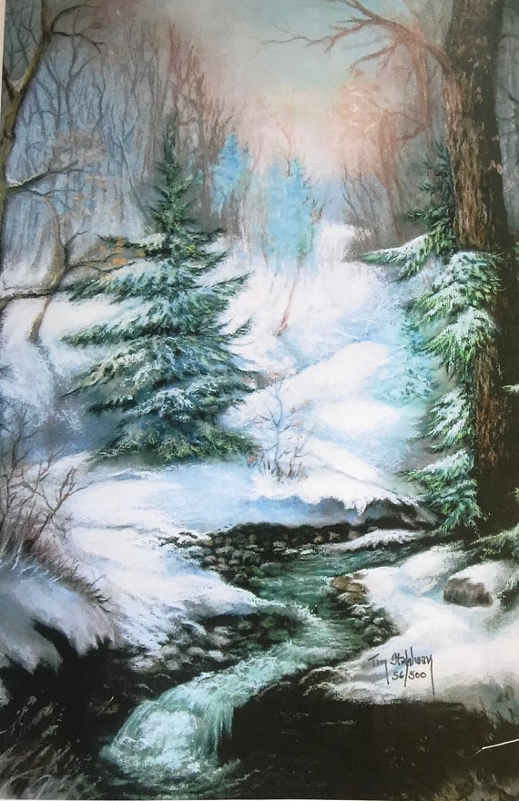 Hand Painted Slate, Home Decor, Wall Hanging Slate Sign, Winter Snow Landscape, Slat, Art Painting