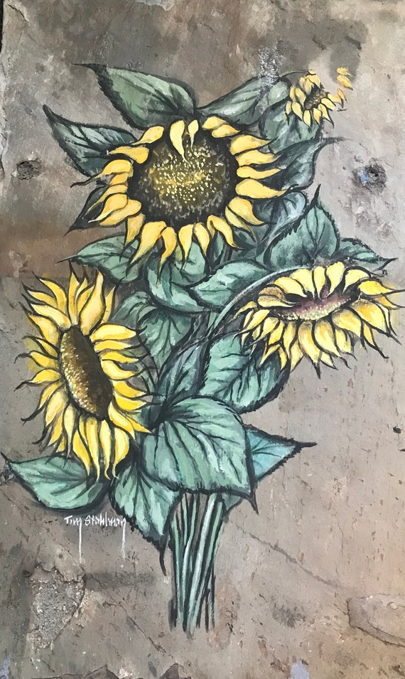 Sunflowers Slate Painting, Wall Hanging, Hand Painted Slate, Garden Porch Decor