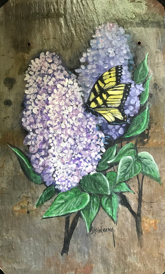 Hand Painted Slate, Welcome Sign, Garden Decor, Porch Decor, Monarch Butterfly, Door Hanger, Lilac