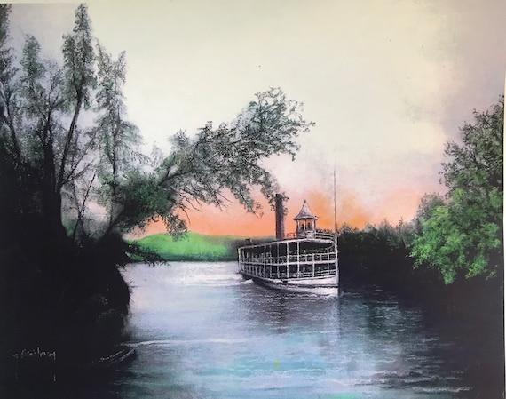 Vintage Steamboat Slate Painting, Chautauqa Lake, Hand Painted, Nautical Decor