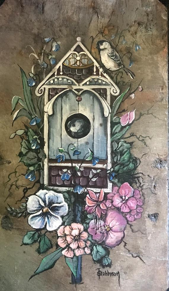 Hand Painted Slate, Welcome Sign, Garden Decor, Porch Decor, Chickadee, Bird Lovers, Victorian Birdhouse