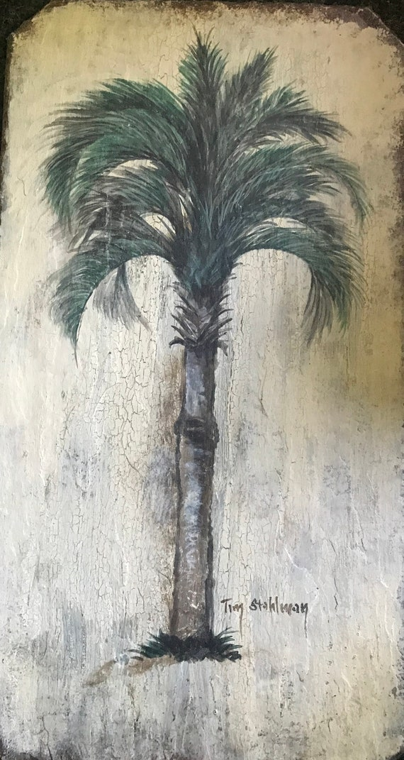 Palm Tree Slate Painting