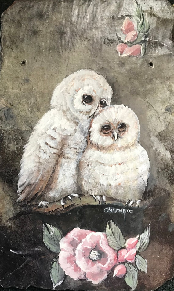 White Owls Slate Painting, Welcome Sign, Owl Collector Hand Painted, Home Decor, Garden Porch Decor, Anniversary Gift, Wedding Gift