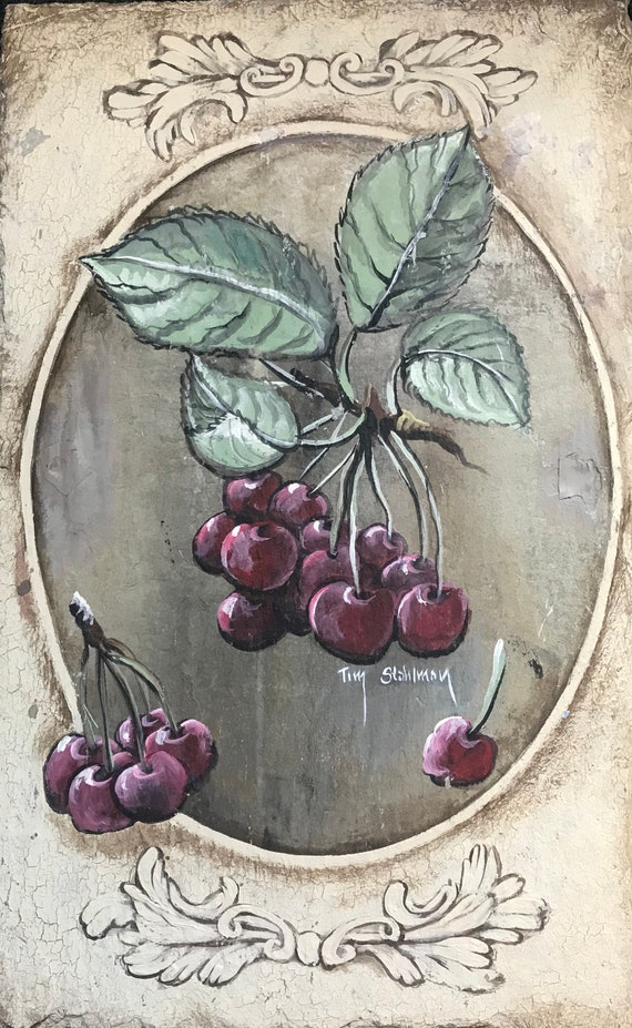 Hand Painted Slate, Cherries, Home Decor Dining Room and Kitchen