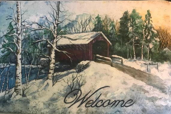 Hand Painted Slate, Winter Door Hanger, Welcome Sign, Covered Bridge