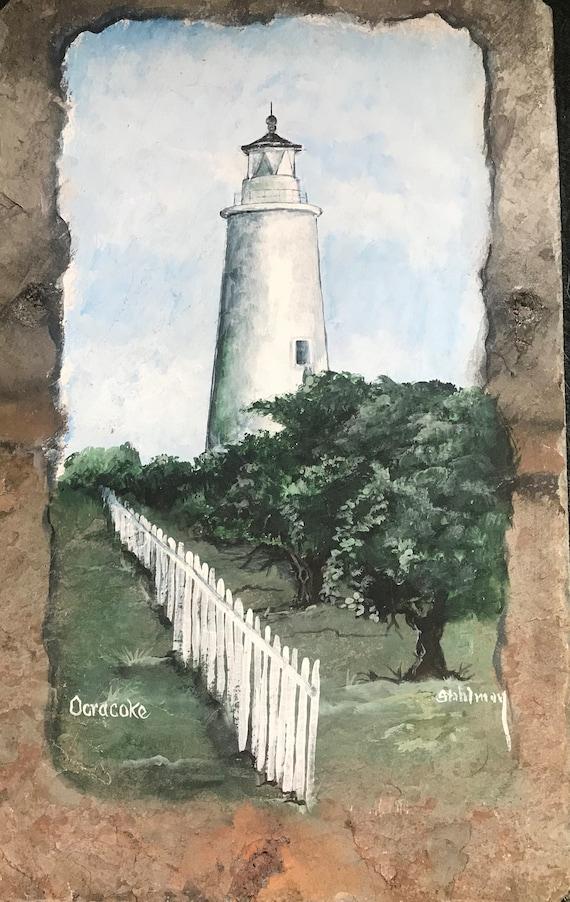 Ocracoke Lighthouse, North Carolina, Slate Painting, Hand Painted, Nautical Decor