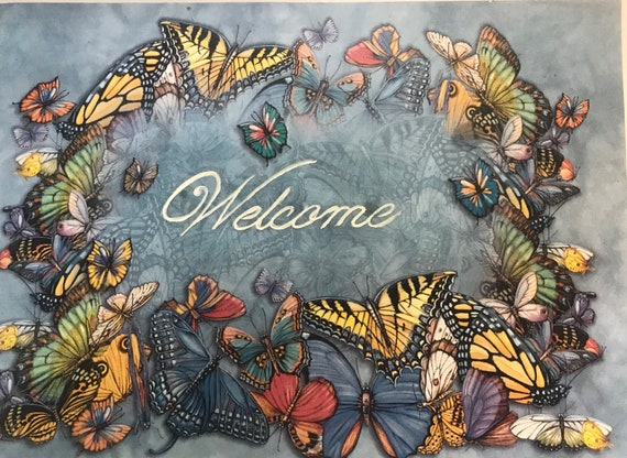 Butterflies, Porch Decor, Garden, Hand Painted Welcome Sign, Monarch Butterfly Welcome Slate Painting