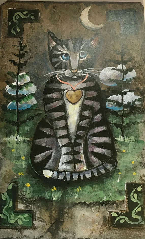 Kitty Lovers, Folk Art, Cat, Slate Painting