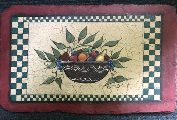 Hand Painted Slate, Home Decor, Kitchen Dining Room Decor Folk Art Fruit Basket