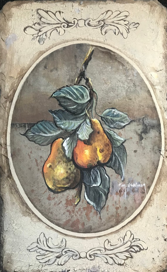 Pears Slate Painting Hand Painted, Home Decor