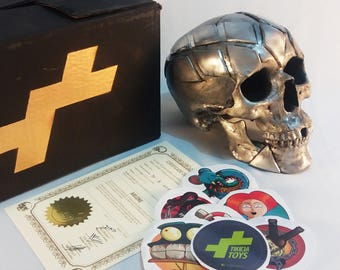 Resin cast, hand painted skull ARLENE