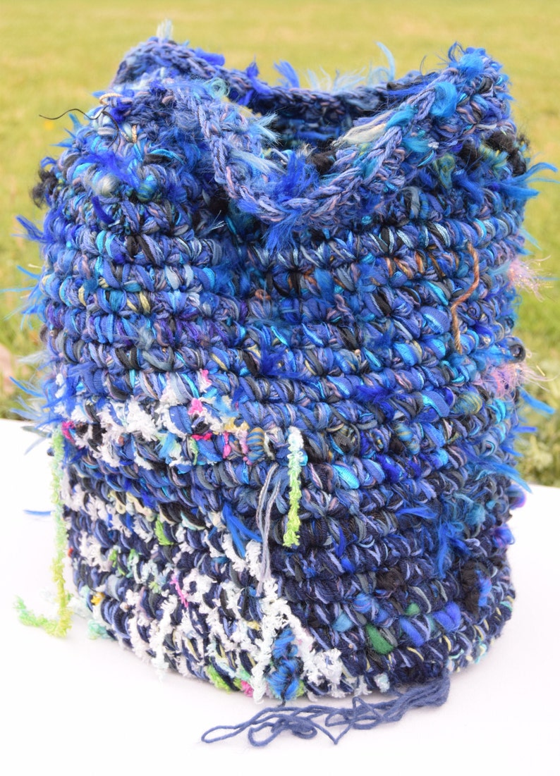 OOAK boho handbag Hand Made Crochet Wool Tote Bag
