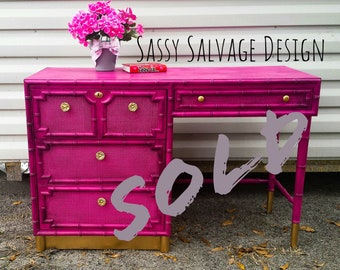 SOLD Magenta and Gold Drexel Desk