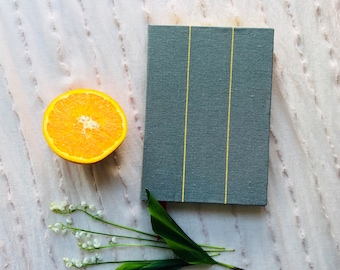 Notebook, Handmade Journal, Diary, Planner, Bullet Journal, Writing, Hardcover, Green, Gold, Stripes, Original, Thick, Dotted, Lined, Blank