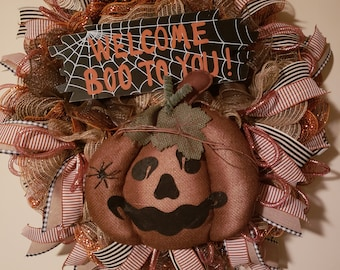 Orange and black pumpkin Halloween wreath, Large orange and black pumpkin Halloween wreath with welcome sign