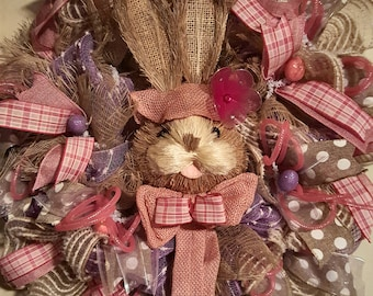 Pink Easter bunny wreath, Easter bunny wreath  large Easter bunny wreath for the front door