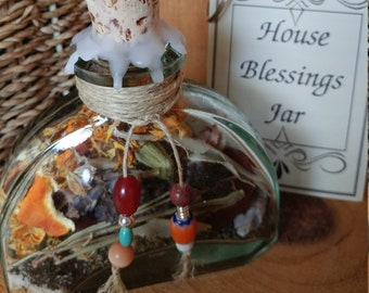 Blessing Jar - House Blessings Jar - Altar decorations - Pagan blessings - Witch bottle - Decorative Jar - Housewarming Gift - Ready to ship