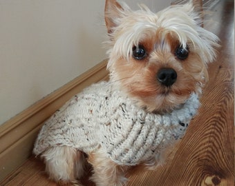 168574dc8ab8 Dog Sweater   People Hat - Dog clothes - Pet sweater - Puppy sweater - Dog  coat - Dog gift - Pet coat - BEIGE FLECK Cable knit