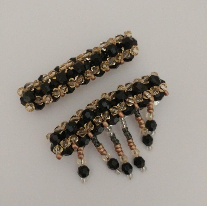 Hair grips Hair pins Hair accessories Hair clips Bead earrings Hair fasteners Beaded barrettes BLACK /& GOLD Barrettes