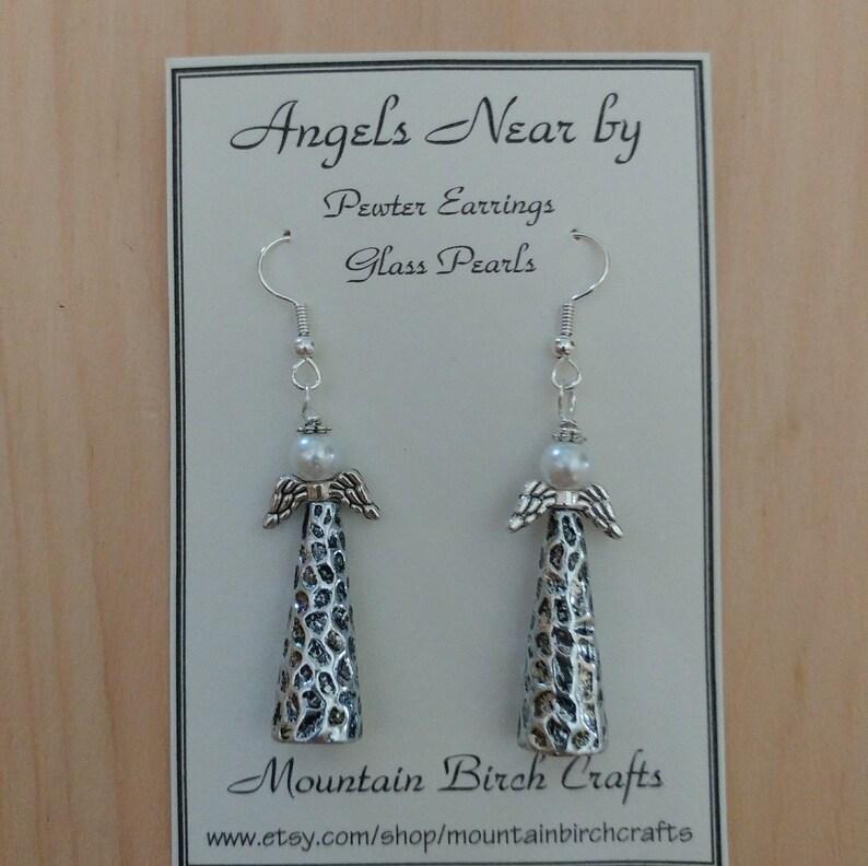 Angel earrings Angel wing earrings Christmas Earrings ANGELS NEAR BY Pewter Earrings Angel wings Christmas Angel