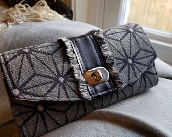 Woman's Wallet/NCW/Geometric Upholstery weight fabric/faux leather accent and trim/Necessary Clutch Wallet