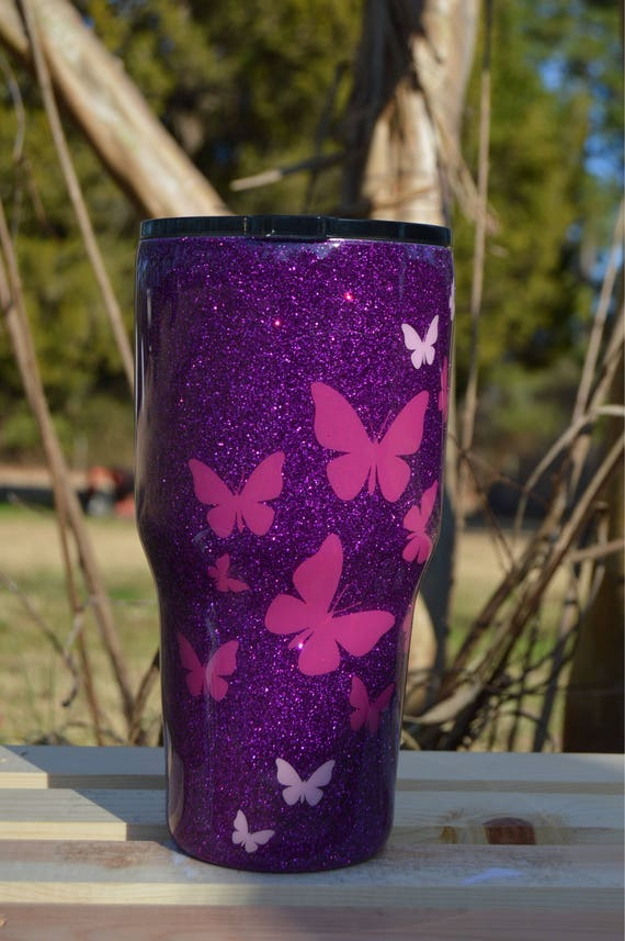 Who Accepts American Express >> Purple Glitter Tumbler with Butterflies | Etsy