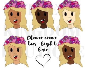 Flower Crown Boo (Light Hair) - Digital Download