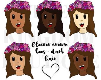 Flower Crown Boo (Dark Hair) - Digital Download