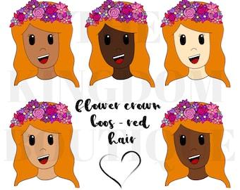 Flower Crown Boo (Red Hair) - Digital Download