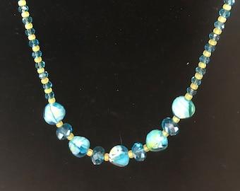 Lemony Blues - Necklace Earrings