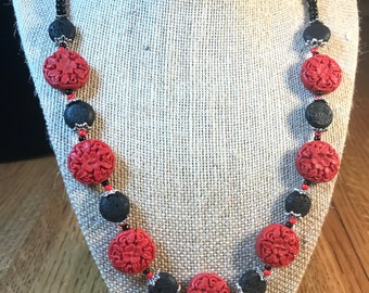 Cinibar and Lava - Necklace Earrings