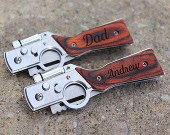 Engraved Gun Knife, Wood Pocket Knife, LED Custom Pocket Knife, Personalized Gift Knife, Engraved Knife, Groomsmen Knife, Medium Knife