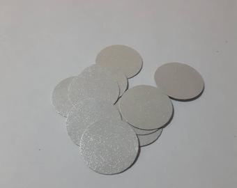 100 piece off white pearlescent circular confetti