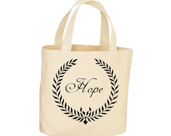 Canvas Tote Bag Hope Inspirational Quote Within a Classic Wreath Beautiful Design