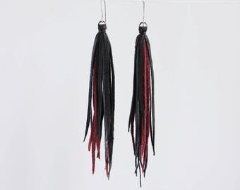 Leather Long Tassel Earring