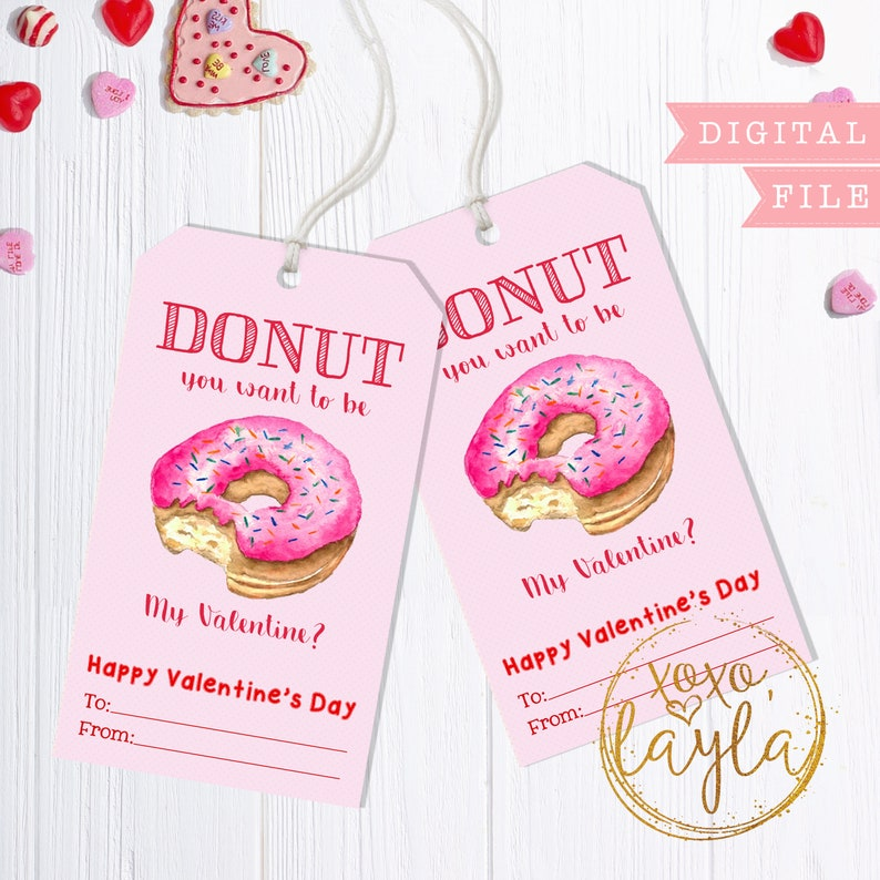 picture relating to Valentine Gift Tags Printable referred to as Valentines Working day Tags - printable valentines reward tag - custom-made posted tags Valentines Prefer Hold Tag - Donut notice - donut valentine