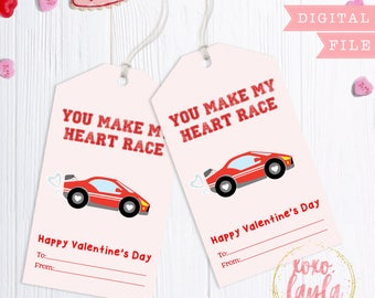 Valentine's Day Tags - printable valentine's gift tag - personalized printed tags Valentine's Favor Hang Tag - Make my heart race