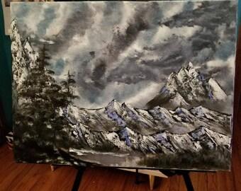 Misty Mountain Oil Painting
